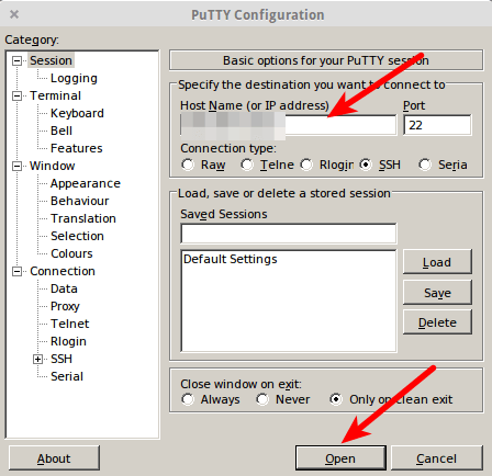 PuTTY configuration